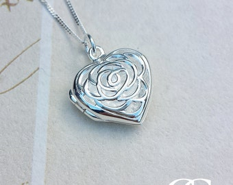 Sterling Silver Open Heart Locket Necklace