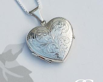 "Vintage Inspired Large Sterling Silver Heart Locket Pendant Necklace 18"" 20"""