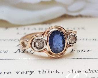 Art Deco Inspired 9ct Rose Gold, Blue Sapphire & Diamond Three Stone Ring
