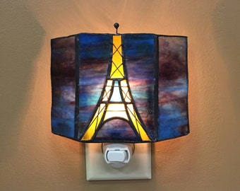Eiffel Tower stained glass night light
