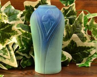 Van Briggle Pottery Vase, Ming Blue Floral Vase, 1920's