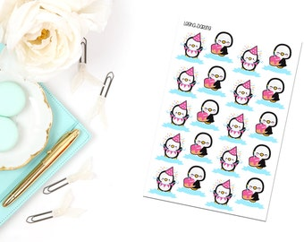 Cute Penguin Birthday Tracker Planner Stickers