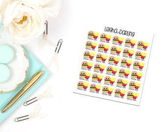 Kawaii Cheeseburger/Fries/Takeout Food Planner Stickers