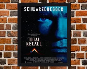 Framed Total Recall Arnold Schwarzenegger Movie / Film Poster A3 Size Mounted In Black Or White Frame