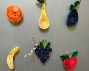 Paper quilling fridge fruit magnets - set of 6