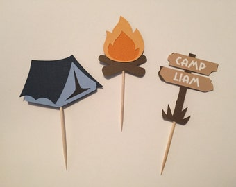 Personalized Camping Cupcake Toppers