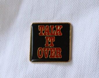 Talk It Over Vintage Enamel Lapel Pin