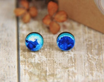 Abstract Painted Wooden Lasercut Stud Earrings