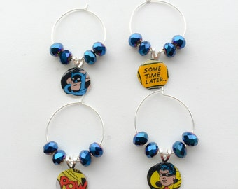 Set of 4 Batman Wine Glass Charms