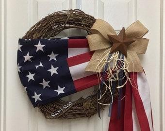 Patriotic Wreath, Flag Wreath, American Flag Wreath, Memorial Day, USA Decor, America