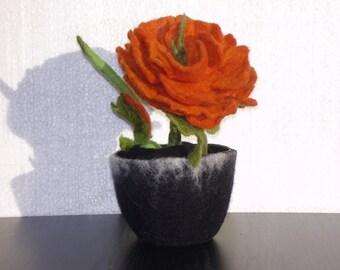 Fiber art, Felted flower, Textile art, Unique home decor, Unusual gift,