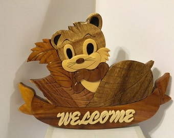 Squirrel  Welcome  Wall /Door/Corner  Hanging  Gift Item for Any Occasion