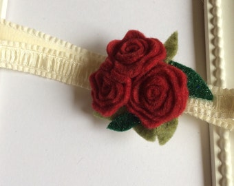 Baby Girl Headband, Felt Flower Headband