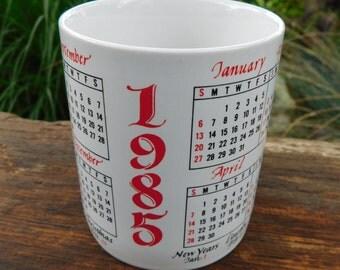 Vintage 1985 Calendar Mug