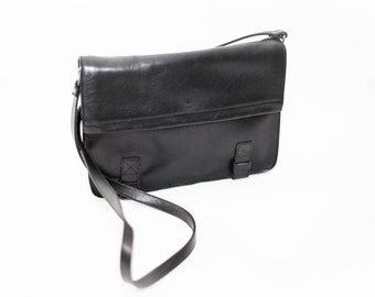 Black leather shoulder bag - Leather cross body bag - Black leather satchel - Hipster cross body - Black shoulder bag
