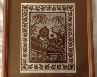 "Vintage Dietrich Varez Traditional Hawaiian Block Print ""Canoemaker"" - 1995"