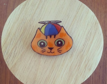 Charlie the Cat Wooden Brooch