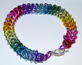 Gorgeous RAINBOW Box Chain weave chainmaille bracelet