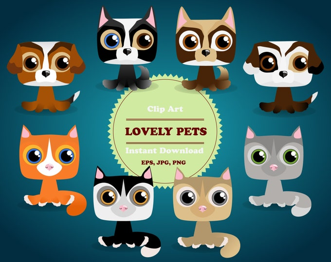 Pets Сlipart, Animal Clipart, Puppy Сlipart, Kitten Clipart, Sticker, Scrapbooking, Instant Download, JPG, PNG, EPS