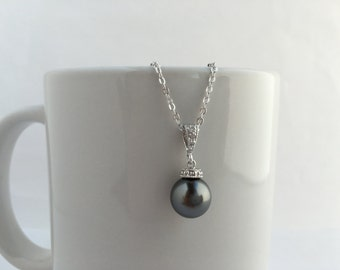 Dark Grey Pearl and Crystal Bridal Necklace Wedding Cubic Zirconia and Pearl Pendant Rhodium Swarovski Pearl Jewelry