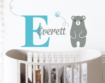 Bear and Name Decal, Custom Name Decal Nursery or Kids room - Personalized Wall Decal and Wall decor