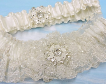 Beauty in Wedding garter set,  Ivory wedding garter set,  Wedding garters