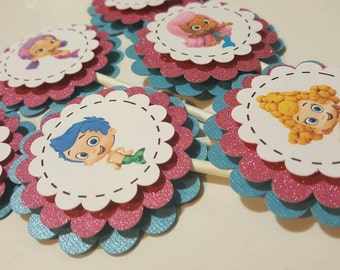 Bubble Guppies Cupcake Toppers, Bubble Guppies Birthday. Bubble Guppies Party Decorations, Set of 12