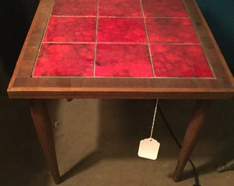 Mid century Yugoslavian Tile Top Side Table