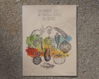 Large 2017 Calendar Fruits and Vegetables of Quebec