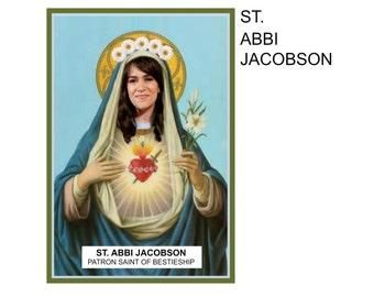 Saint Abbi Jacobson of Broad City Digital Art Print Prayer Candle Label Yas Kween gag gift funny oddity