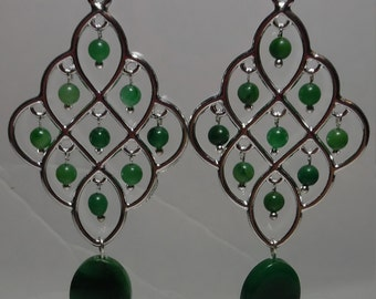 West African Jade & Silver Chandeliers on SP Ear Wires