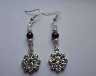 Sparkly Flower Dangle Earrings