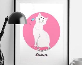 Personalised cat portrait - digital file