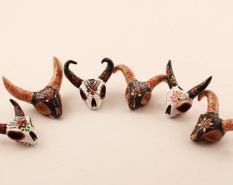 Ethnic Dreadlock Beads Buffalo Skull De Los Muertos