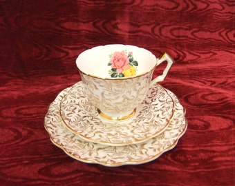 Pretty Vintage Aynsley Trio Cup,Saucer & Plate Rose design 26
