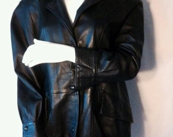 Fox black leather jacket / Black Leather jacket in the 80ies Fox