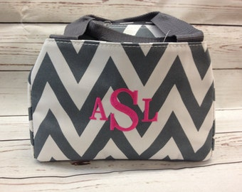 Monogrammed Lunch Box/ Chevron Print/ FREE MONOGRAM