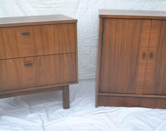 A pair of Mid Century Modern Walnut Nightstands