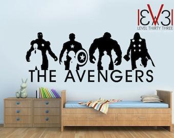 THE AVENGERS Wall Art Decal - Iron Man, Captain America, Hulk Thor - High Quality Vinyl - 580mm x 1400mm