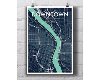 Downtown - Portland City Map Print