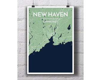 New Haven, Connecticut - City Map Print
