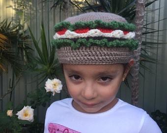 Hand Crocheted : Children cute caps Hamburger Made To Order