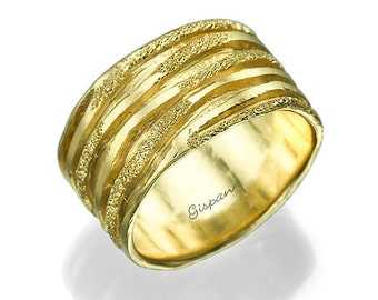 Unique Wedding Band, Woman Wedding Ring, 14k Yellow Gold Ring, Glitter Ring, Band Ring, Promise RIng, Wedding Jewelry