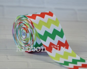 "2 yards 1.5"" Christmas Chevron Stripe Grosgrain Ribbon - Noel - Xmas - Craft - Sewing - Holiday Party - Home Decor - Dog Collar/Leash"