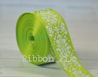 """2 yards 7/8"""" Lime Green Damask Grosgrain Ribbon - Christmas - Craft - Sewing - St. Patrick's Day - Fancy - Home Decor - Dog Collar/Leash"""