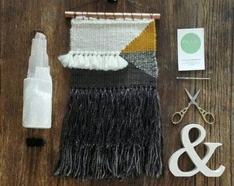 Handwoven Wall Hanging // Black // Grey // White // Mustard