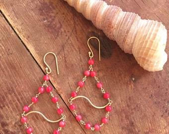 Chandelier Dangle Earrings / Coral Jewelry / Bridesmaid Gift / Beach Wedding / Boho Jewelry / Hippie / 24 Carat Gold