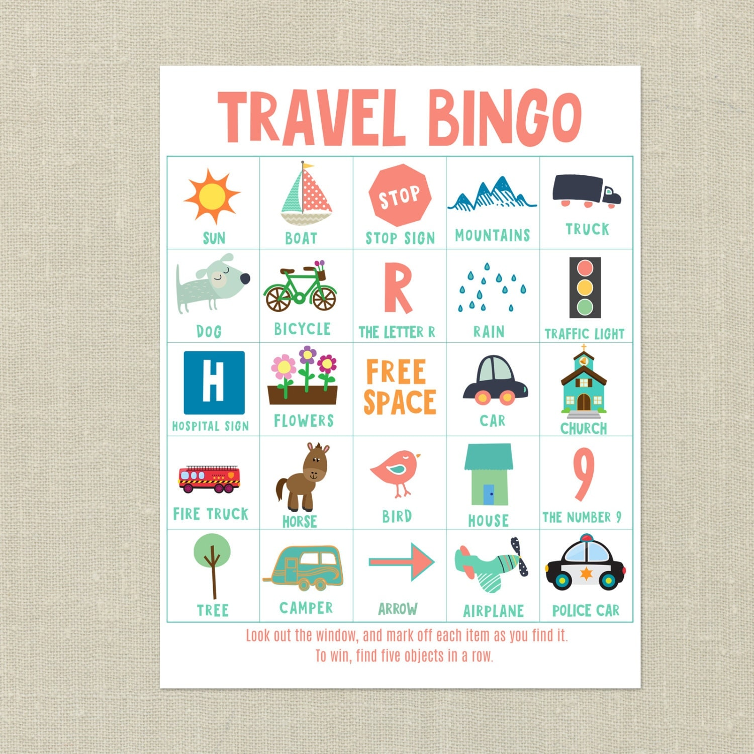 It's just a picture of Agile Printable Travel Bingo