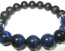 tiger's eye blue and onyx - stones 10mm