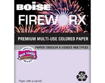 Boise Fireworx Paper, Letter, Luminous Lavender, 20lb, 500ct x 2 Reams